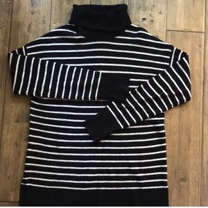 HALOGEN striped cashmere turtleneck sweater small